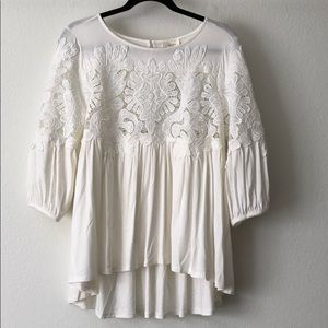Anthropologie Deletta Ivory Lace Floral Blouse